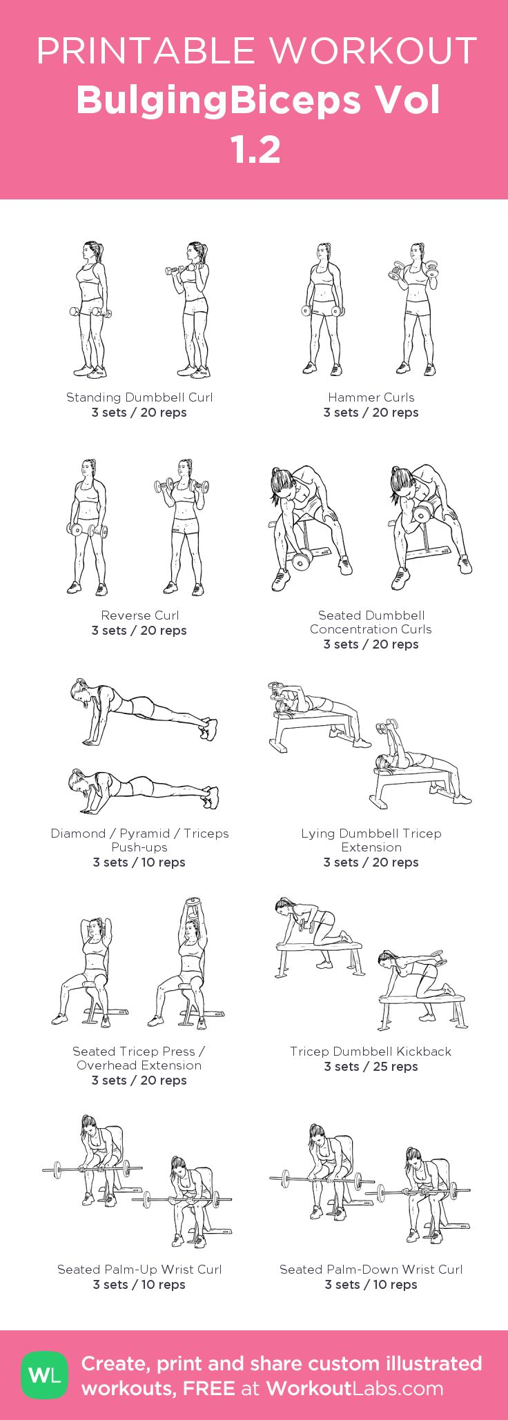 BulgingBiceps Vol 1.2:my visual workout created at WorkoutLabs.com • Click through to customize and download as a FREE PDF! #customworkout