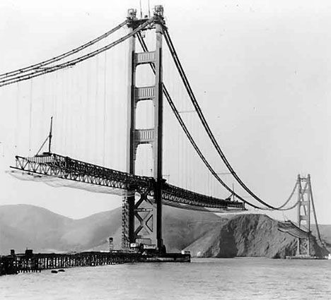 Half-constructed golden gate bridge