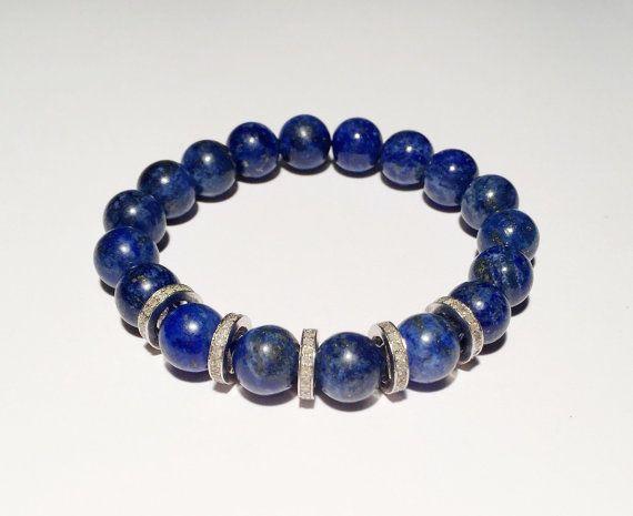 Diamond and blue bracelet, Blue bracelet with diamond bracelet, lapis and diamond bracelet, FREE SHIPPING