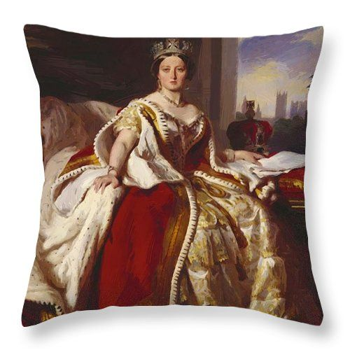 Queen Throw Pillow featuring the painting Queen Victoria 1859 by Winterhalter Franz Xaver