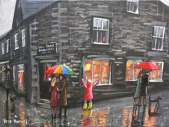 Pete Rumney Fine Art Modern Acrylic Oil Original Painting Book Shop Grasmere Wet WeatherBook