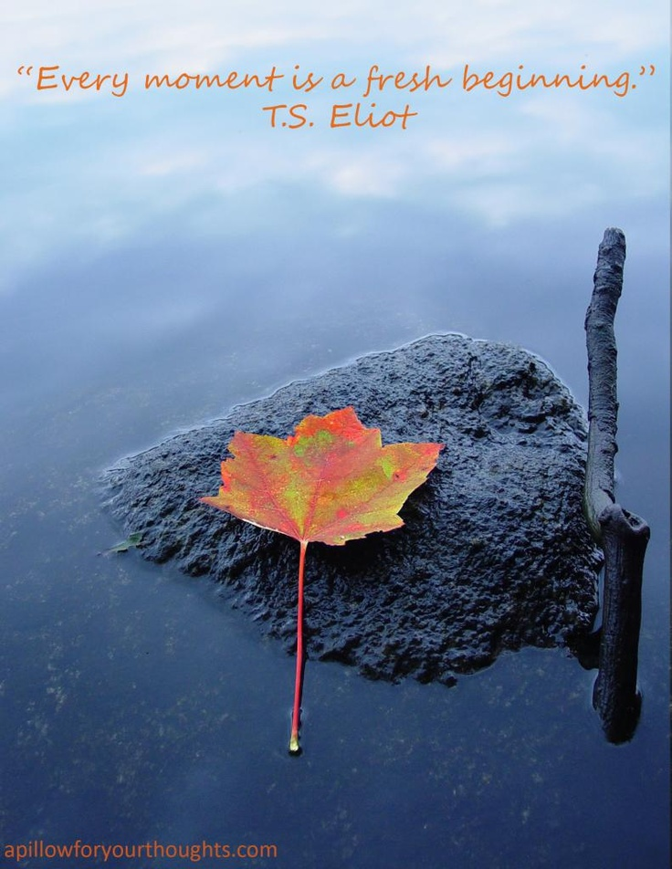 Every moment is a fresh beginning. -T.S. Eliot #inspiration #quote