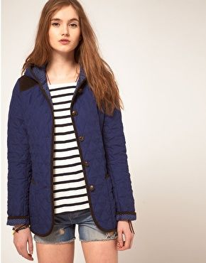 ASOS Hooded Quilted Jacket With Spot Lining