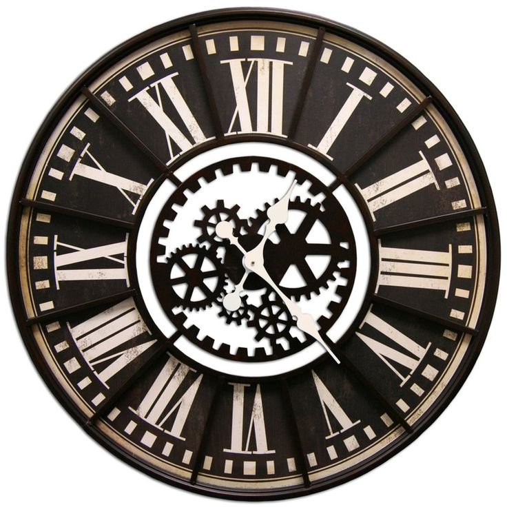 This is a large, round, transitional clock with bold roman numerals around the outside and gears on the inside. This is a statement piece and will grab attention.