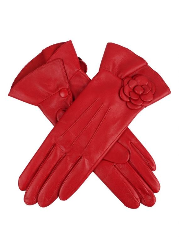 Evie Women's Silk Lined Hairsheep Leather Gloves with Poppy