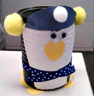 Make a penguin out of a soup can for a winter craft! Cute for kids