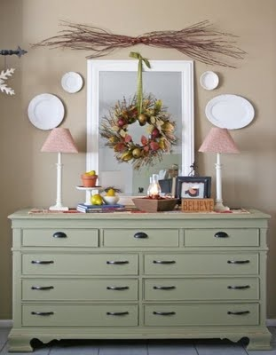 I want to paint our wood buffet this green sage color