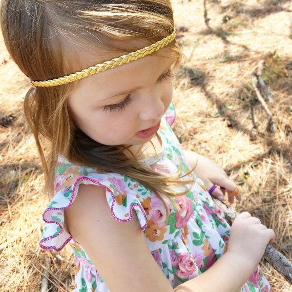 Braided Baby Headband, Gold Baby Headband, Toddler Headband, Newborn Headband, Braided Headband, Gol   – Products