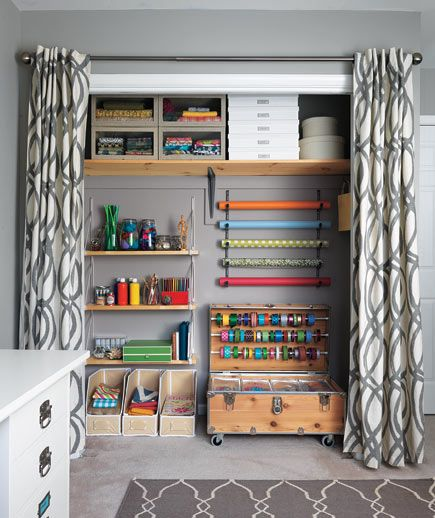 I like the idea of curtains in place of doors. The chest with ribbon spools and tubs to store small/medium items has rollers so if you are undergoing a big project, you can have it right next to the table & roll back into place when done.