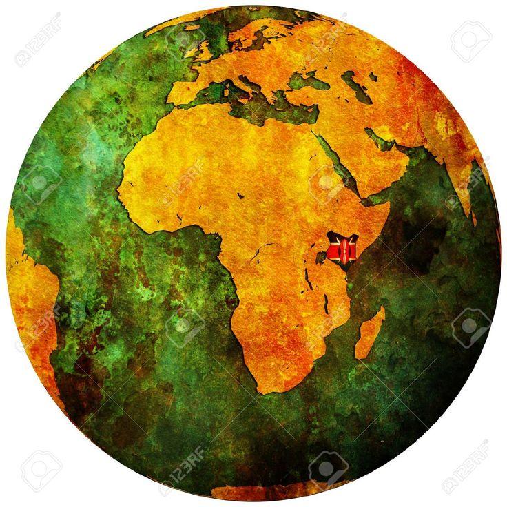 Kenya flag on globe map Kenya territory