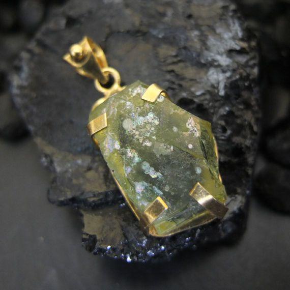 Handmade Designer Nice Real Roman Glass Pendant 22K Gold over Sterling Silver #Handmade #Pendant