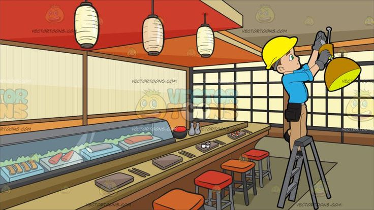An Electrician Installing A Ceiling Lamp At A Sushi Bar :   A man with brown hair wearing a yellow hard hat sky blue shirt tan colored pants black tool belt and shoes gray gloves stands on the highest safe step of a ladder as he installs an orange and yellow ceiling lamp. Set in a room set up as a japanese sushi bar with red and orange bar stools japanese lamps brownish gray orange and red ceiling glass display showing a variety of fresh sushi light brown rectangular plates and chopsticks…