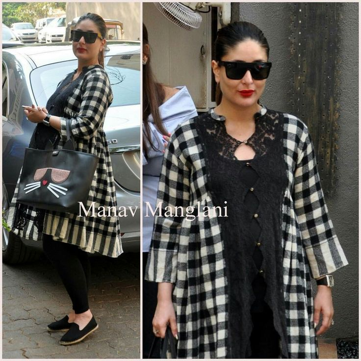 Kareena was spotted post lunch wearing a Pero by Aneeth Arora cape and a Karl Lagerfeld bag!