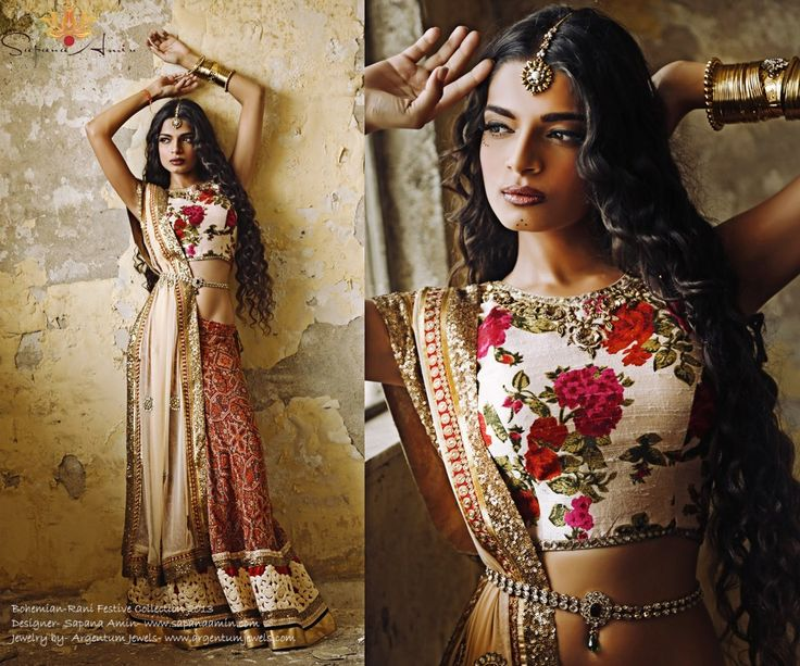 Stunning design from Sapana Amin's Bohemian-Rani Festive Collection 2013. Colors, patterns, fabrics, borders, golden details--all are gorgeous on their own, and in perfect harmony in this lehenga. Very original, just excellent.  This collection by Sapana Amin is by far my most favorite collection so far.