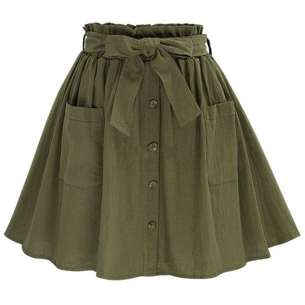 Olive Green Self Tie Button Front Circle Skirt ($50) ❤ liked on Polyvore featuring skirts, olive green skirt, green skirt, army green skirt, skater skirts and flared skirt