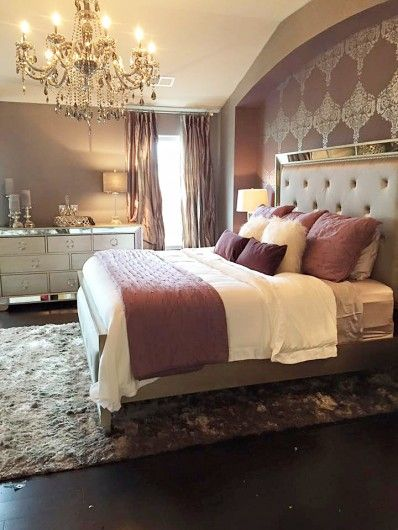 A Diy Purple Stenciled Accent Wall In A Bedroom Using The