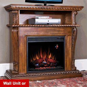 "Corinth 23"" Burnished Walnut Electric Fireplace Cabinet Corner Mantel Package - 23DE1447-W502"