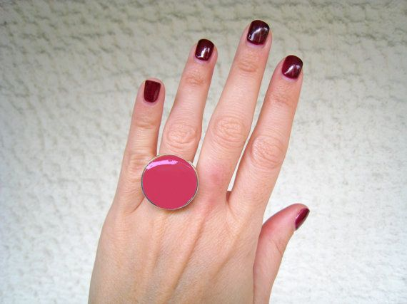 Dark pink ring fuchsia pink resin ring raspberry pink by xroma