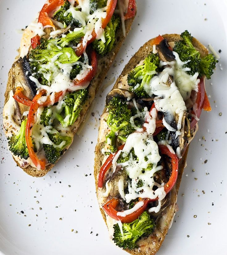 Portobello, Broccoli, and Red Pepper Melts