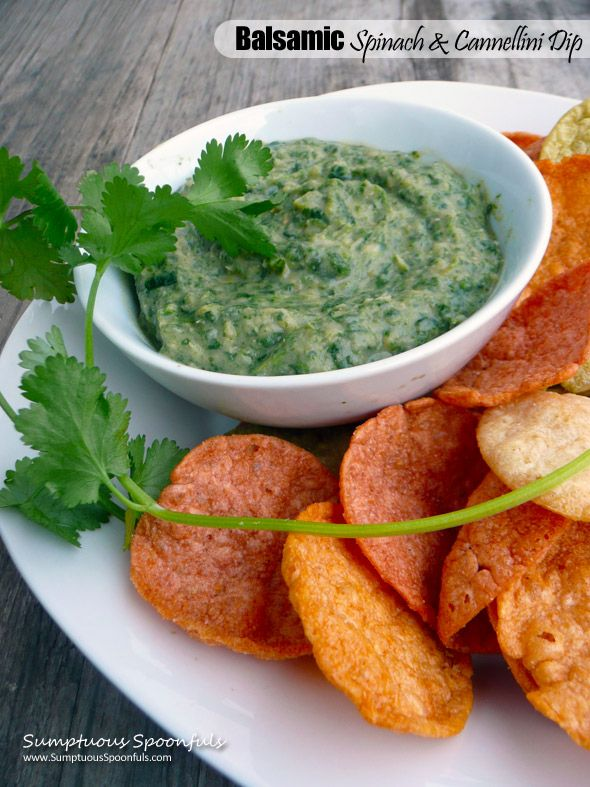 Balsamic Spinach & Cannellini Bean Dip ~ Delicious, Healthy & Easy Di...