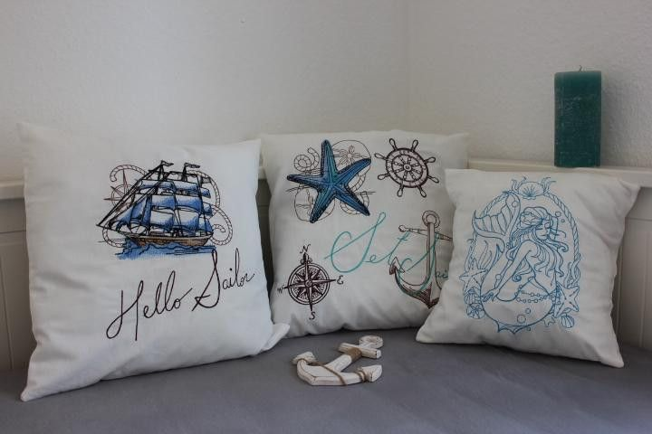 "maritimes Kissen ""Segelschiff"""