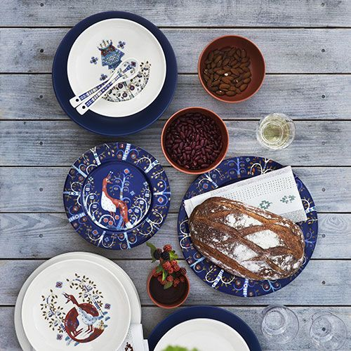 Designed by Klaus Haapaniemi, the Taika (Magic) pattern tells the story of an enchanted forest full of fanciful creatures with a folkloric feel. It has the look of fine china and the practicality of daily dinnerware, a bargain at 20% off until April 1st.