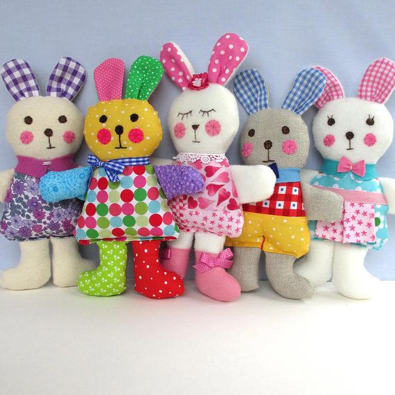 Pattern is written in ENGLISH. Other languages NOT available. INSTANT DOWNLOAD - PDF download button is on your Purchases and reviews page (to find this click on You top right of page). RAGTAGGLE RABBITS Five colourful little rabbits which are easy to make using variations of the same basic pattern. So soft and lovable young children will love to cuddle them. Rabbits measure 25cm (10 in) to the tops of their ears and are a very useful way to use up odd scraps of fabric and trims. They mak...