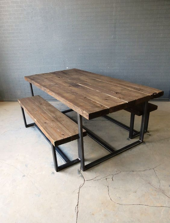 Reclaimed Industrial Chic 6 8 Seater Solid Wood And Metal Dining Table.Bar  And