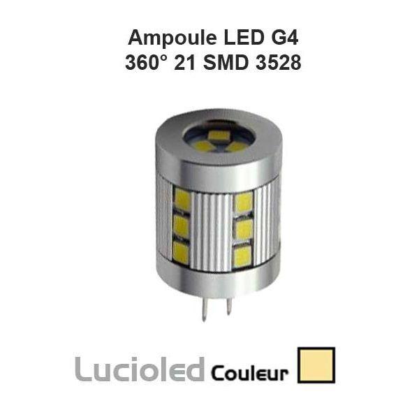 Ampoule LED G4 360° 21 SMD Blanc chaud (12V/24V)