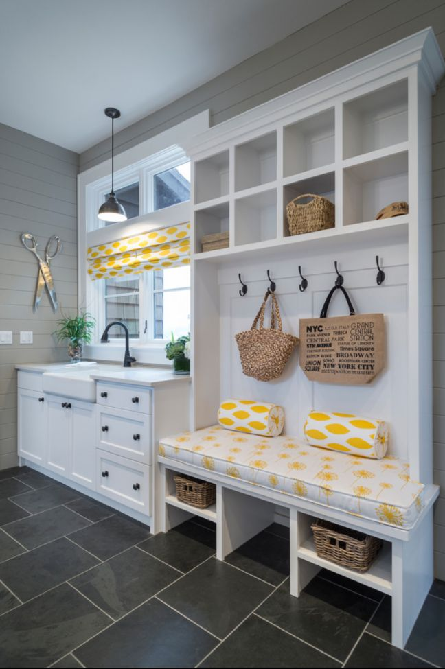 Colors! Grey and yellow. small functional laundry + mud room ideas and inspiration