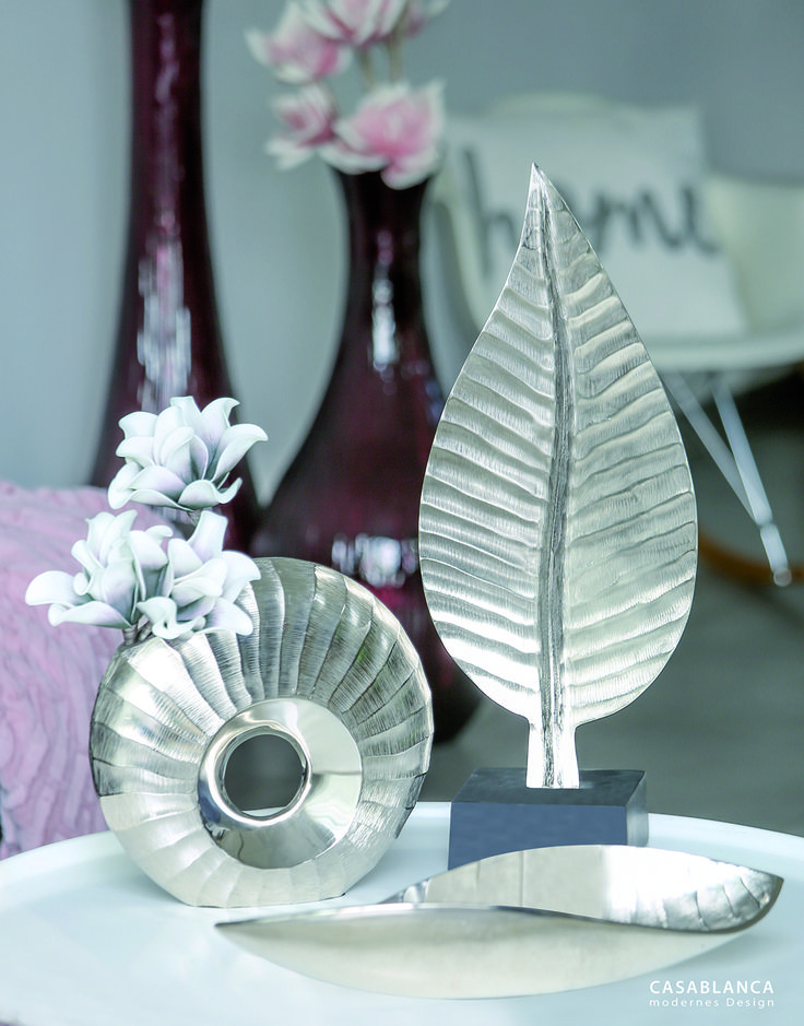 """Serie """"River"""" Aluminium, silber mit antikem Wellenschliff-Dekor"""