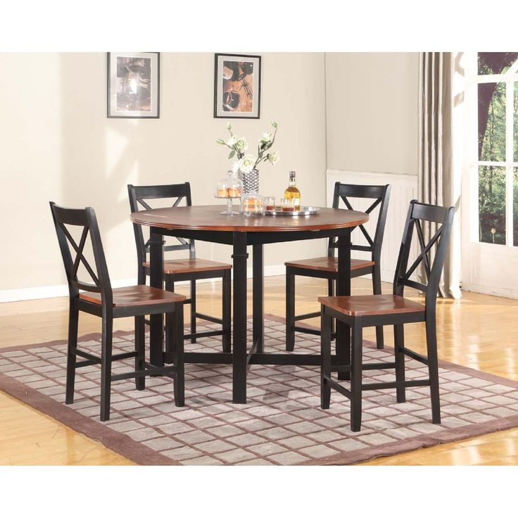 Furnituremaxx Wood Drop Leaf Counter Height Pub Table With 4 Stools Cherry And Black