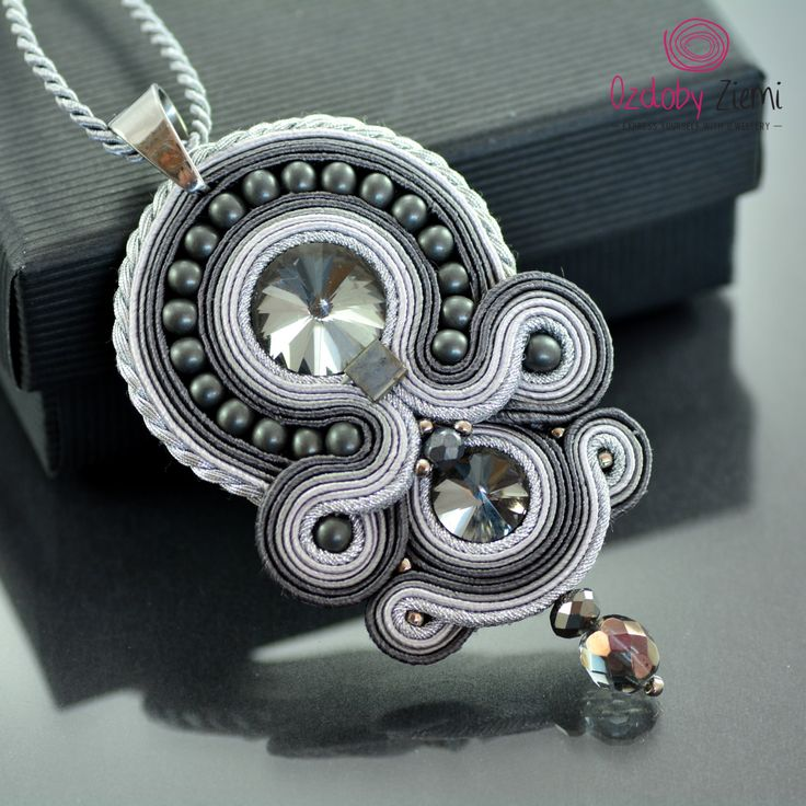 Soutache Diamond Necklace, Graphite Pendant, Silver Crystal Pendant,Gray…