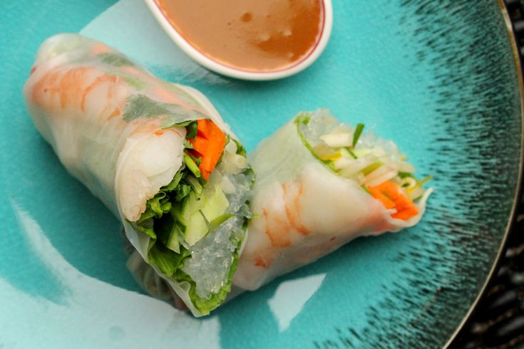 12 Spring Roll Wrappers (12 ounce package)  2 cups cooked Bean Thread Noodles  1 bunch Green Leaf Lettuce  2 cups Fresh Bean Sprouts  1 bunch Cilantro  ½ Hothouse Cucumber (or 1 regular peeled cucumber)  3 Green Onions  2 to 3 Carrots (medium size)  12 large cooked Shrimp