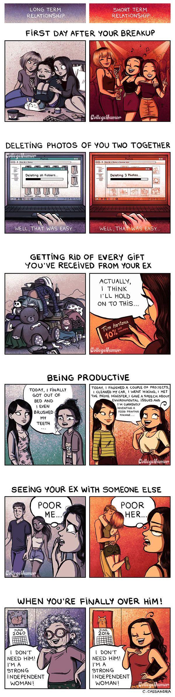 Breakups: Long-Term vs. Short-Term Relationships   By Cassandra Calin [Illustration - Digital - Comic - Love - Funny]