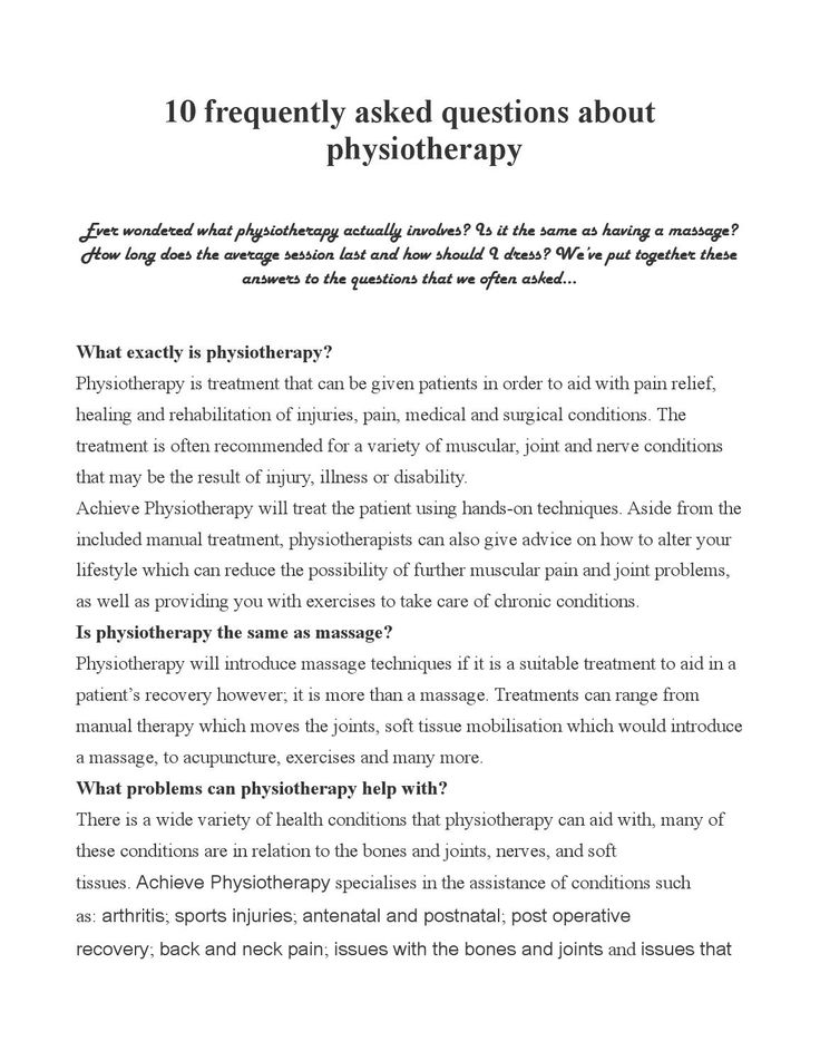 Physiotherapy faq