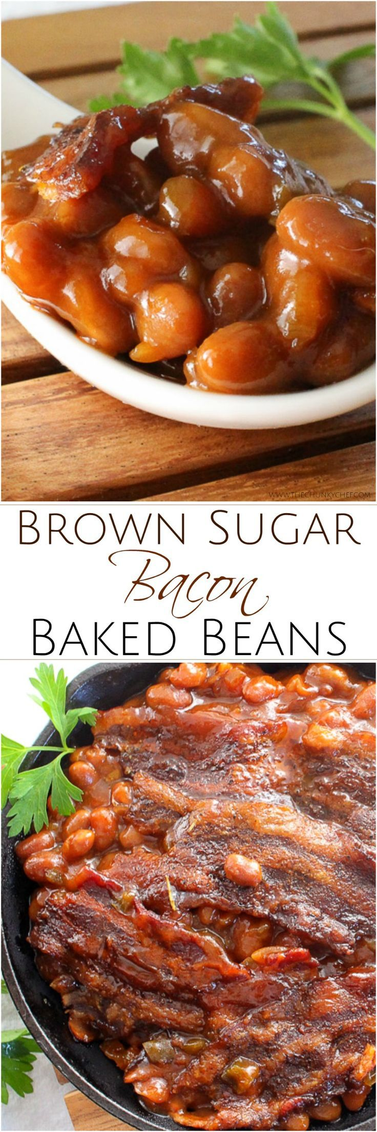 These baked beans are semi-homemade and the perfect blend of sweet, savory and smoky! Topped with delicious bacon, they're sure to be a hit!
