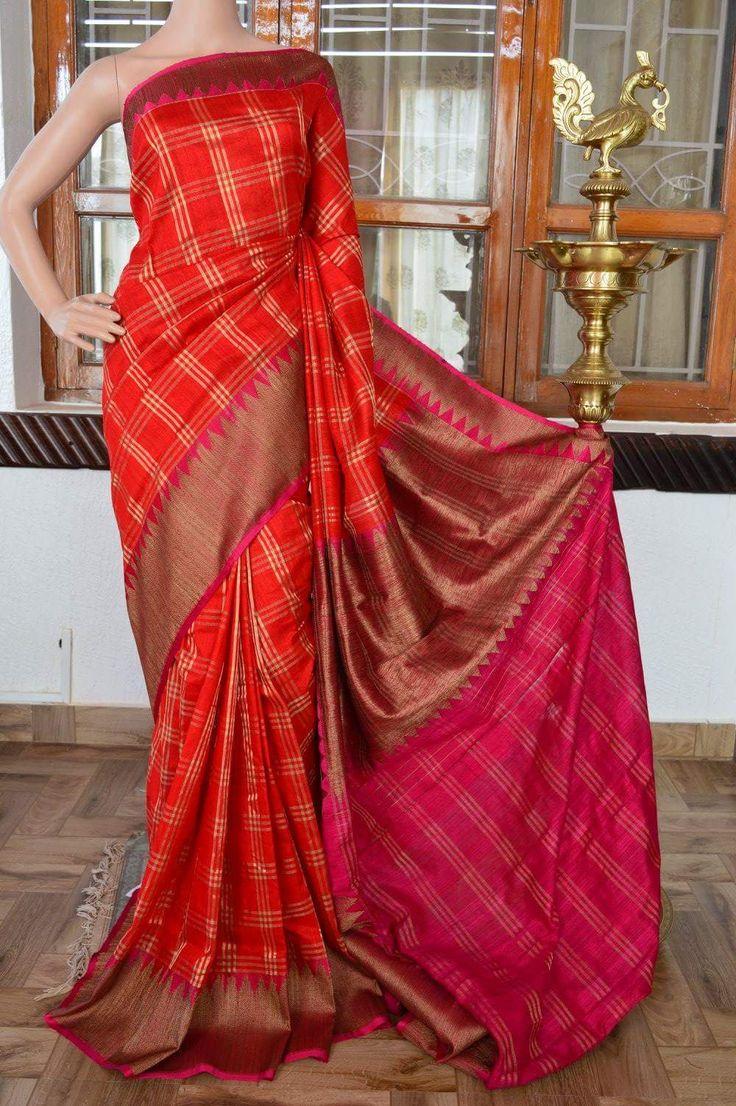 Red pure dupion banarasi silk saree contrast pink zari border with pallu. Code: J0717VB161802 Cost: 9500 inr Mail: vasthramsilk@gmail.com Whats app: +91 7019277192 #purekanchipuramsilksaree #kanjivaram #kanchipuramsilksaree