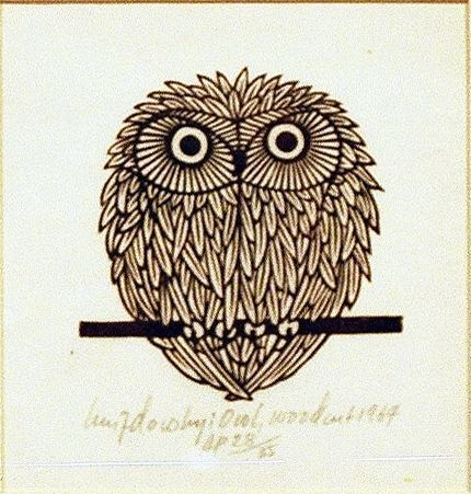 Jaques Hnizdovsky  Owl  Woodcut  1974