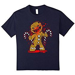 Kids Scary Zombie Gingerbread Man T-shirt 12 Navy