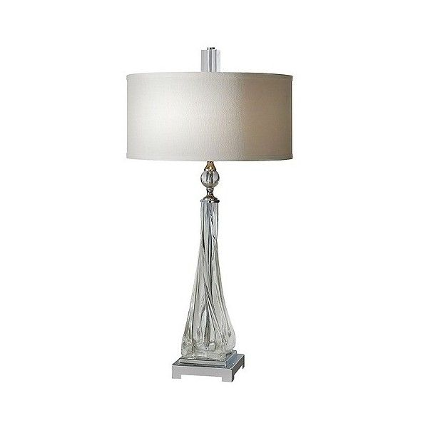Uttermost Grancona Twisted Glass Table Lamp ($350) ❤ liked on Polyvore featuring home, lighting, table lamps, clear, glass lamps, beige table lamps, uttermost table lamps, alabaster lamps and soft white light