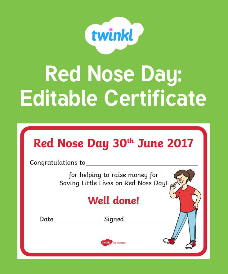 A lovely certificate rewarding your children for what they have achieved on Red Nose Day! It is editable so you can change the award to suit your students.