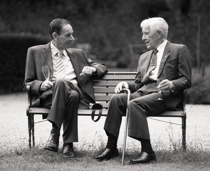 Two Grandad's chatting at Parkfields Country house wedding in Herefordshire