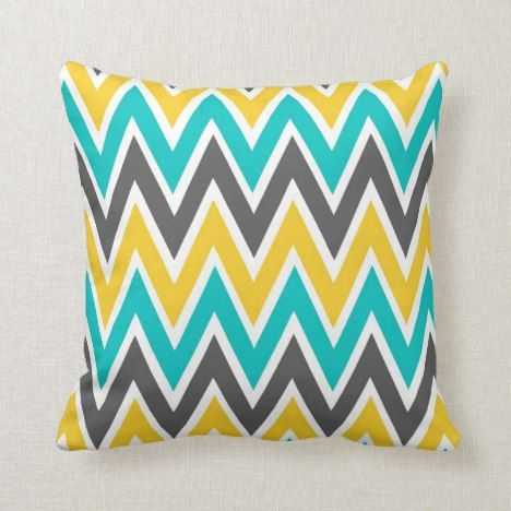 Groovy Turquoise Gray Yellow Gold Chevron Throw Pillow Zazzle Com Pdpeps Interior Chair Design Pdpepsorg
