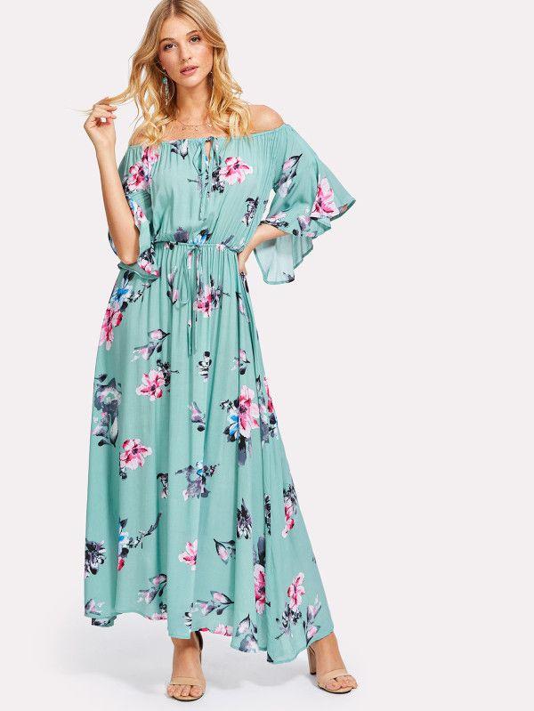 Shop Flower Print Drawstring Waist Bardot Dress online. SheIn offers Flower Print Drawstring Waist Bardot Dress & more to fit your fashionable needs.