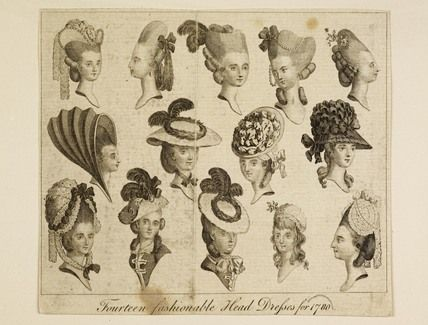 Fourteen fashionable Head Dresses for 1780, MoL 008160