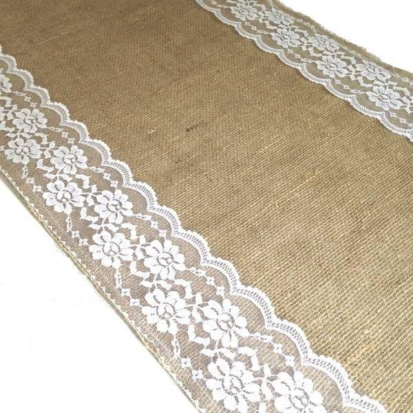 Tafelloper gemaakt van jute en kant voor bruiloften, landelijk wonen en feestelijke aangelegenheid.  Standaardmaat en in aangepaste lengtes verkrijgbaar!