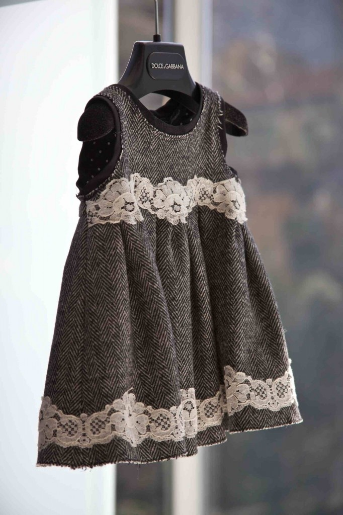 DIY inspiration.....Great mix of lace and tweed for little ones at Dolce & Gabbana winter 2012.