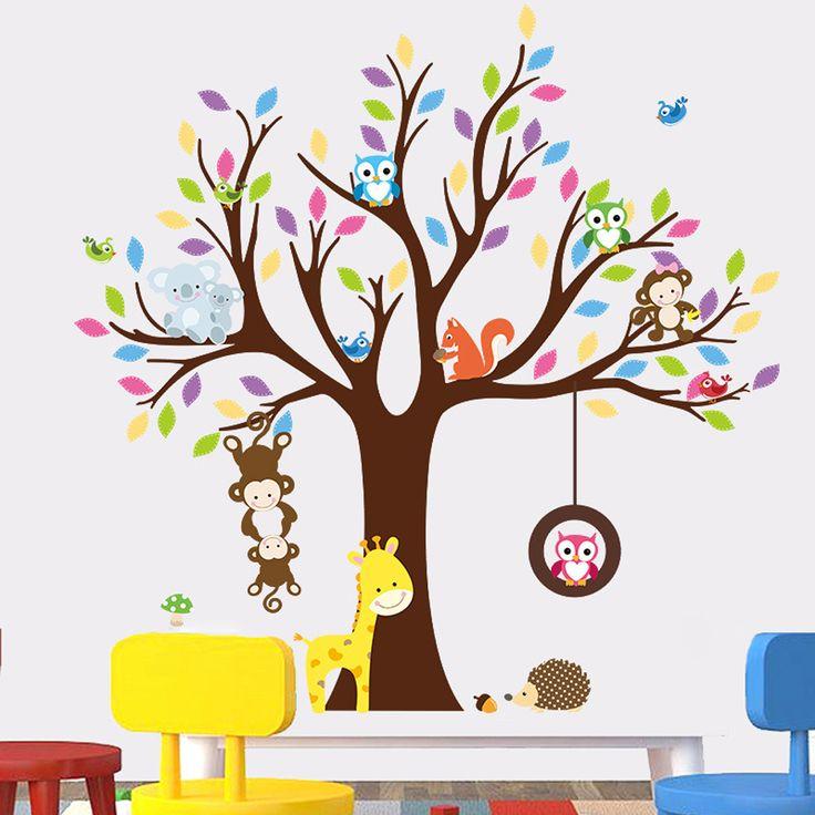 PVC Cartoon Animal Monkeys Tree Wall Stickers DIY Art Decal For Kids Bedroom  Wallpaper Nursery Home Part 96