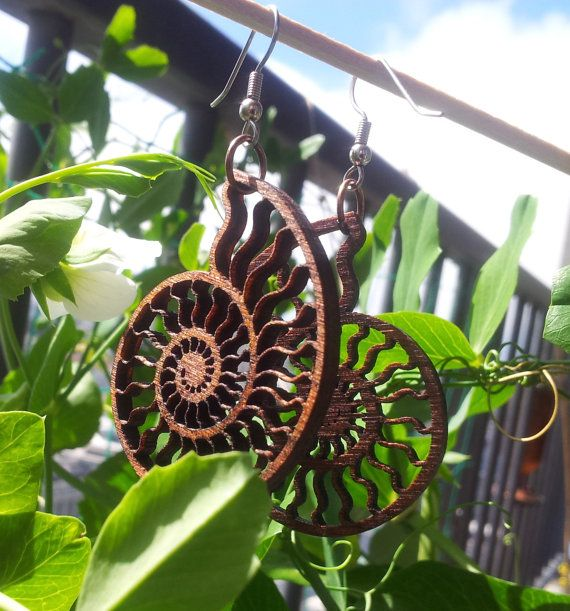 Lasercut Wood Ammonite Earrings Nautilus by Biomorphics on Etsy, $20.00+
